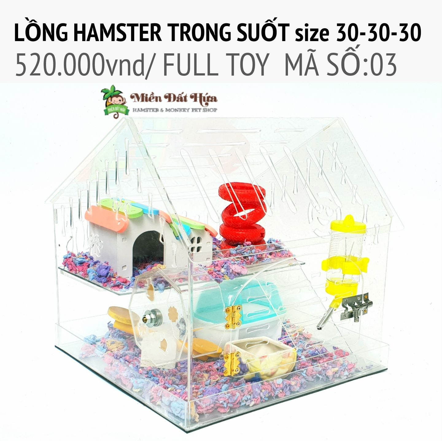 LỒNG hamster trong suốt size 30-30-30 ms03