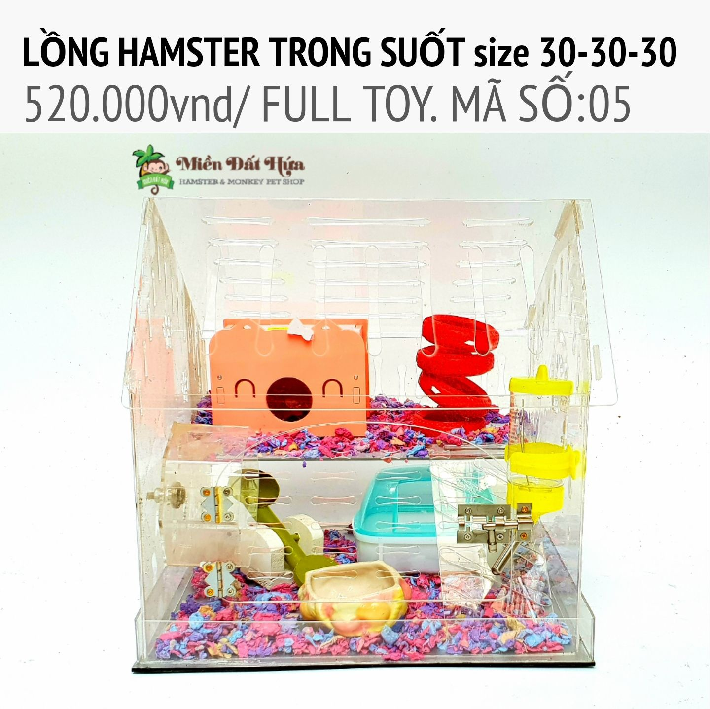 LỒNG hamster trong suốt size 30-30-30 ms05