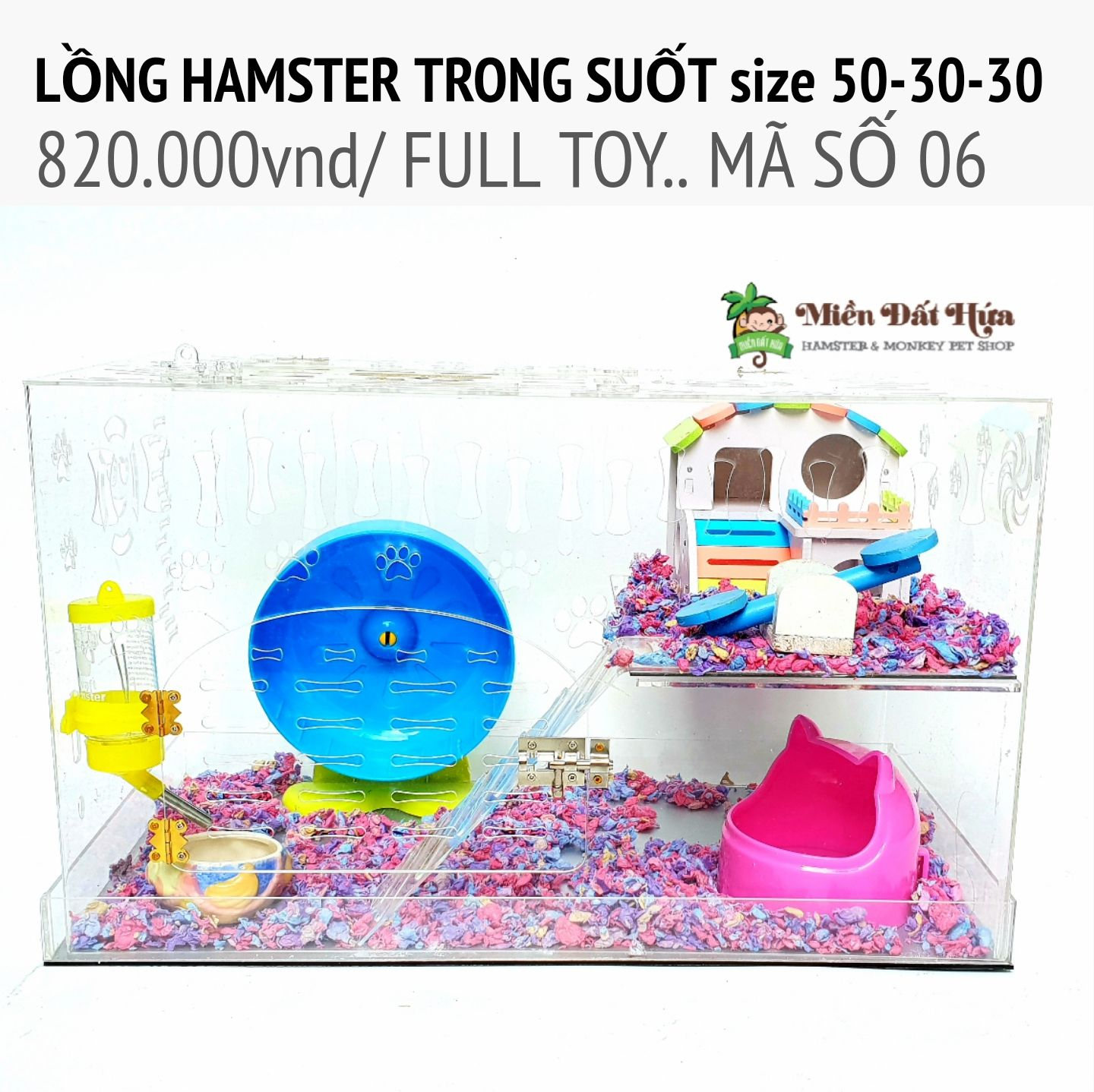 LỒNG hamster trong suốt size 50-30-30 ms06